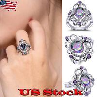 Rainbow White Topaz Flower Ring Purple Amethyst Black Gold Women Jewelry Sz 6-10