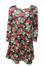 Ladies Skull And Rose Print Novelty Halloween New Plus Size Smock Swing Dress