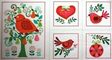 Christmas Partridge Pear Tree Printed Patchwork Quilting Fabric Craft Panel