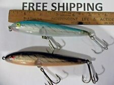 "Rebel 4 1/2"" Jumpin' Minnow Fishing Lure  LOT OF 2 GREAT COLORS TOPWATER BAITS"