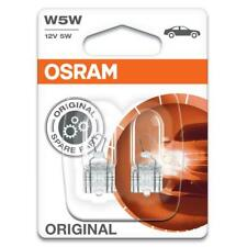 2x Osram Original 501 W5W 12V Capless Side & Number Plate Light Bulbs [2825-02B]