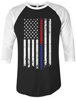 Threadrock Red Blue Line Flag Unisex Raglan T-shirt Firefighter Police