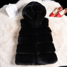Winter Warm Womens Faux Fur Hooded Vest Waistcoat Top Jacket Ladies Gillet Parka