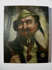 Schönes älteres Porträt eines Jägers - signiert - kleines Ölgemälde - Jagd Jäger