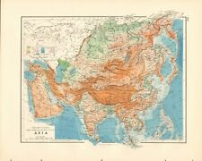 1897 ANTIQUE MAP- JOHNSTON - ASIA - MOUNTAINS, TABLE LANDS, PLAINS AND VALLEYS