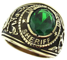 SHERIFF DEPARTMENT GREEN STONE GOLD SS RING SIZE 7 8 9 10 11 12 13 14