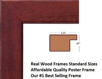 24x36 Brown Picture Frame Finished Wood 24 by 36 inch fits Standard Poster Size