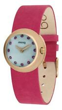 Moog Paris Zoom Women's Watch with White Dial, Pink adjustable nubuck lace Strap
