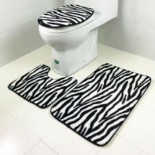 Anti-skid Zebra Stripe Print Bath Mat Rug U-shaped Mats Toilet Lid Cover Set