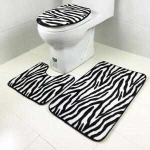 Anti-skid Zebra Stripe Print Bath Mat Rug U-shaped Mats Toilet Lid Cover Set