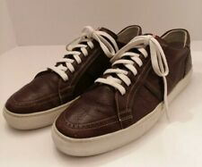 BALLY MENS CHOCOLATE LEATHER LOW TOP SNEAKERS SIZE 10D