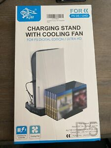 Cooling Fan Station Charging Dock Vertical Stand for PlayStation 5 PS5 with 3