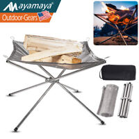 Camping Wood Fire Pit Fireplace Outdoor Portable Campfire Rack Collapsible Grill