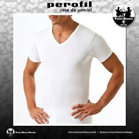 PEROFIL | COLLO V | Maglietta uomo manica corta 100% Cotone Filo di Scozia