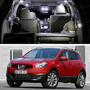 7Pcs LED White Light Interior Bulbs Package Deal for Nissan Qashqai 2008-2013 a