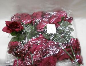 Silk Artificial Open Roses Wedding Flowers Bouquets 84 Burgundy Centerpieces