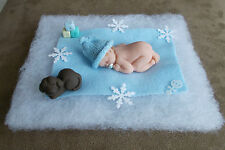 2.5 IN MINIATURE POLYMER CLAY  OOAK BOY BABY DOLL ~ WITH TINY PUPPY & EXTRAS