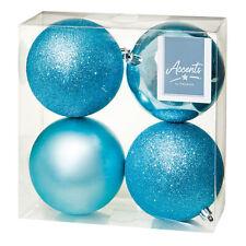 Décoration Sapin de Noël - 4 Paquet 100mm Boules - Glace Bleu