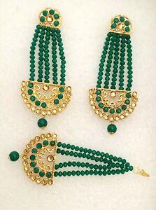 Green Kundan Gold Pearl Maang Tikka/Passa Earrings Indian Bridal Bollywood Set 1