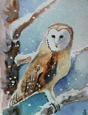 Hand Painted Original Watercolor BARN OWL Winter Snow Wild Bird Signed by JV