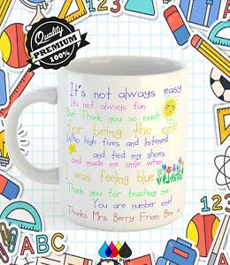 Personalised Teacher Mug Cup Teachers Leaving Gift With Custom Name's +Gift Box
