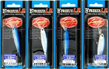 "(4) Lucky Craft Made JAPAN B'Freeze 65SP LB 2 1/2"" Sinking Crankbait Zebra Blue"