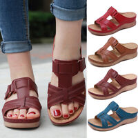 Ladies Women Orthopedic Heel Slip On Open Toe Mules Sandals Shoes Size 4-9