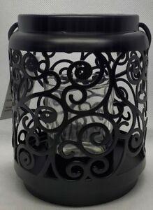 Yankee Candle Black Metal Scroll Votive Holder Lantern - 2 Piece Set - New Box