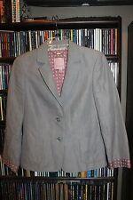 Ted Baker London Gray Pinstripe Blazer Jacket Daisy Cuffs Ladies S XS 4 6 (bin78