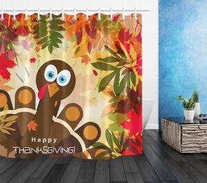 Happy Thanksgiving Turkey Waterproof Fabric Bathroom Shower Curtain Liner Hooks
