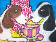English Springer Spaniel drinking Coffee Aceo Print Dog Mini Art Card 2.5 X 3.5
