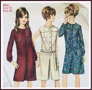 Vintage 1960's ONE-PIECE DRESS / MOD DRESS Sewing Pattern SIZE 16 (S6627)