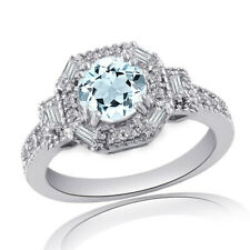 Aquamarine & Diamond Solitaire With Accents Ring 14k Gold Over Sterling Silver
