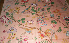 Antique English Floral Bird Chintz Cotton Fabric ~ Peach Green Yellow Blue