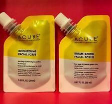 X2 Acure Brightening Facial Scrub 0.67 fl oz /20 ml each New Travel Size LOT