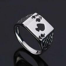 Cool Men's Jewelry Plated Black Enamel Spades Poker Ring Silver