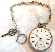 Antique 1878 Gedeon Thommen key wind pocket watch with chain and key