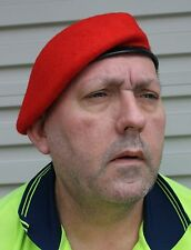BERET AUSTRALIAN MILITARY POLICE SCARLET RED- 100% WOOL SIZE XL = 60-62cm
