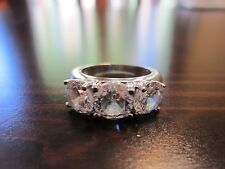 925 Sterling Silver Signed Stunning Classic Sparkle 3 CZ-Stones Ring SZ 6–5 Gr.
