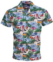 Men's Hawaiian VW Beetle 1960's Surfing Club Hippy VW Camper Van Microbus Shirt