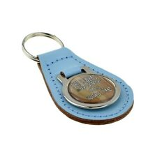 Light Blue Bonded Leather & Metal Keyring for Awesome Dad Looks Like Fathers Day