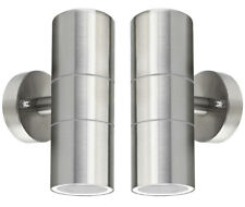 2 x Stainless Steel Up Down WallLight GU10 IP65 Double Outdoor Wall Light ZLC03