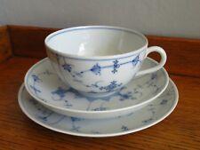 More details for vintage porsgrund blue white lace pretty elegant teacup saucer & plate trio