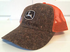 John Deere Wood Front & Orange Mesh Hat Cap Snapback Deere Season