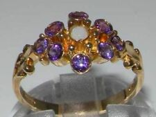 Unusual Solid 9ct Gold Natural Opal & Amethyst Ring with English Hallmarks