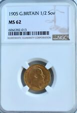 More details for 1905 gold half sovereign ngc ms62 great britain edward