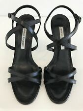 MANOLO BLAHNIK BANYAN BLACK KID LEATHER CRISS CROSS SHOES SIZE 7.5