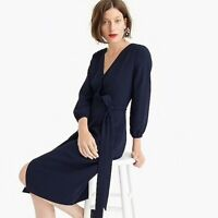 NWT J Crew H6292 Navy Blue 365 Crepe Wrap Dress womens size 12