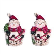 "Snowman in Scarf Shakers 3.5"" Christmas Winter Ceramic Salt & Pepper Gift"