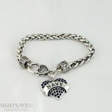 NEW NAVY BLUE CRYSTAL HEART CHARM SILVER BRACELET HEART TOGGLE CLASP MILITARY